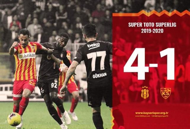Kayserispor Beşiktaş'a 4-1 Mağlup Oldu