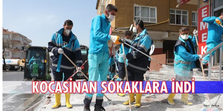 KOCASİNAN'DA SOKAK SOKAK DEZENFEKTE ÇALIŞMASI